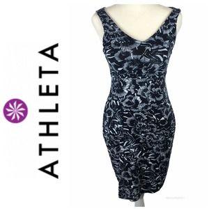 Athleta Black White Floral Tank Dress Size XXS